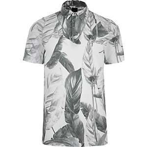 Grey mono leaf print slim fit polo shirt