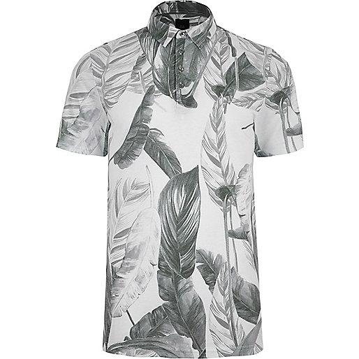 Grey mono leaf print slim fit polo shirt