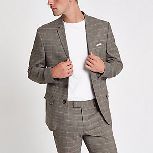Brown and pink check skinny fit suit jacket
