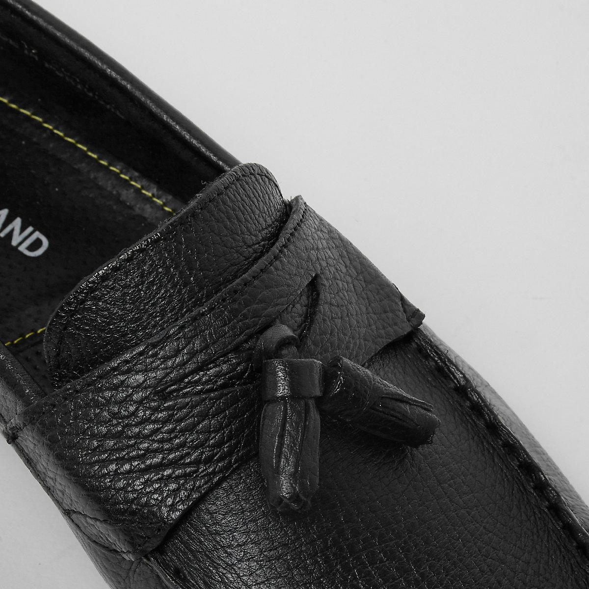 cuir froissé à hommes et noir bottes en Chaussures Mocassins glands nqIRztwxP