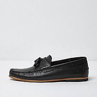 Black tumbled leather tassel loafers