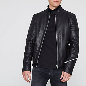 Black racer neck premium leather jacket