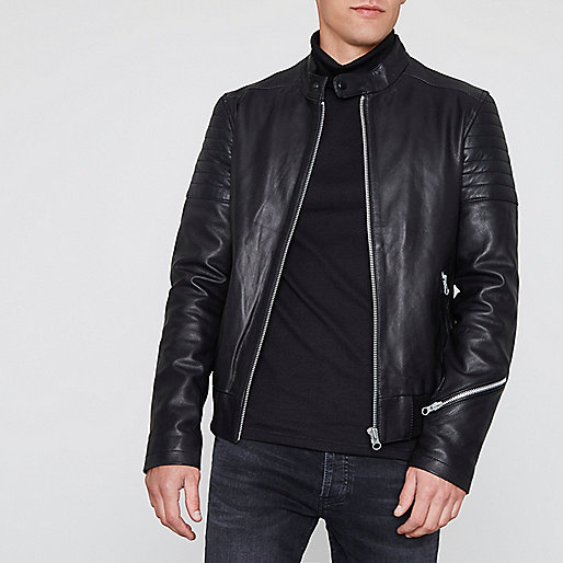 Black racer neck zip cuff leather jacket
