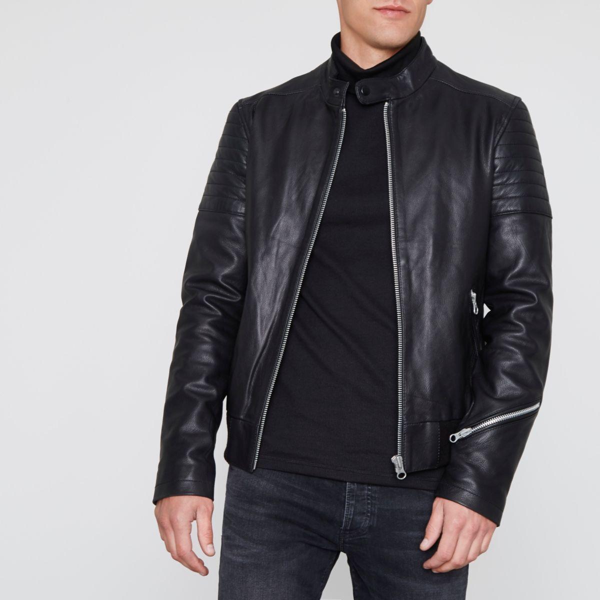 Black racer neck premium leather jacket