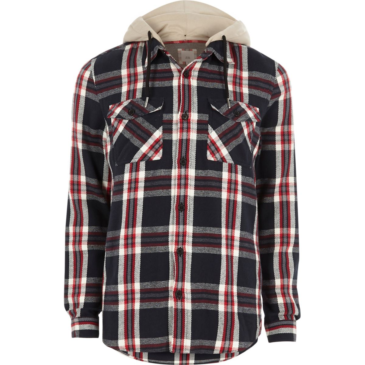 Red check casual hooded shirt