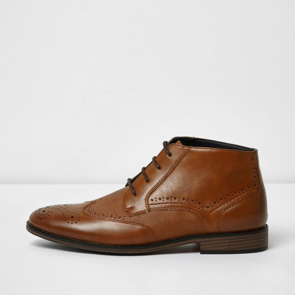 Tan textured brogue boots