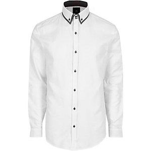 Chemise slim blanche habillée à col double