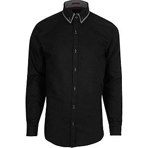 Zwart net slim-fit overhemd met dubbele kraag