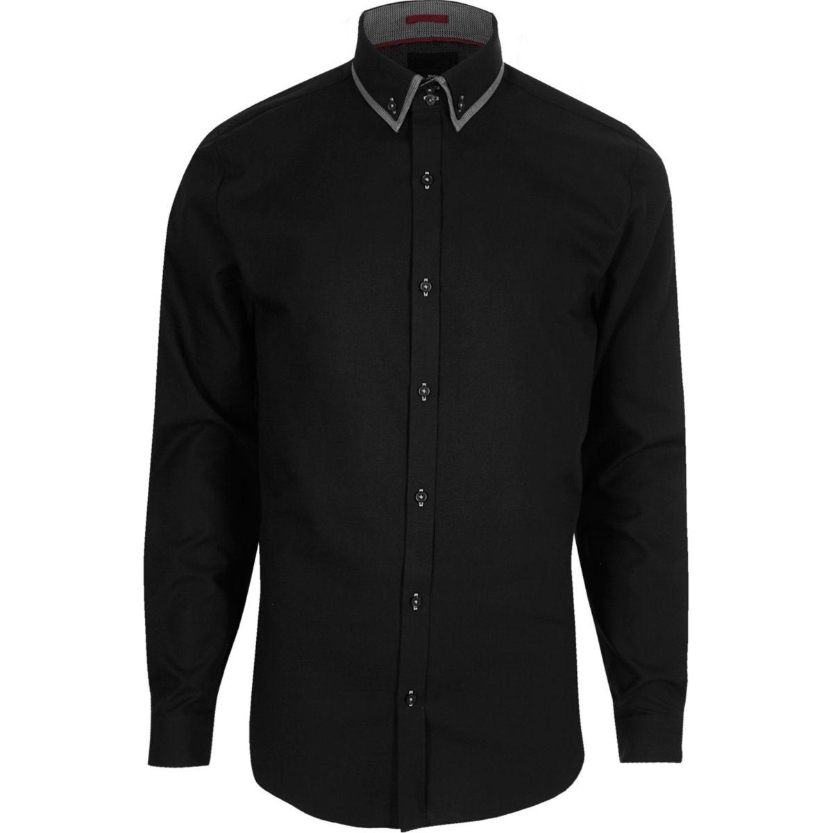 Chemise slim noire habillée à col double