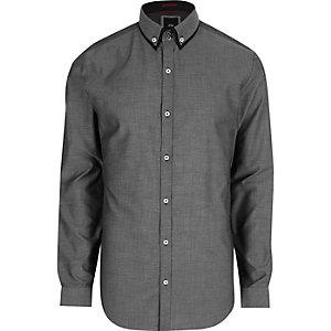Grijs net slim-fit overhemd met dubbele kraag