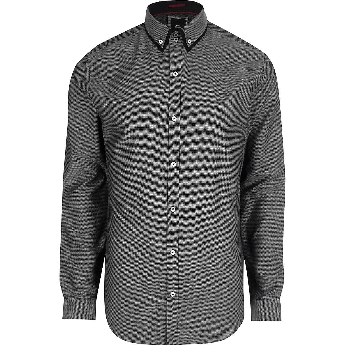Grey double collar slim fit smart shirt