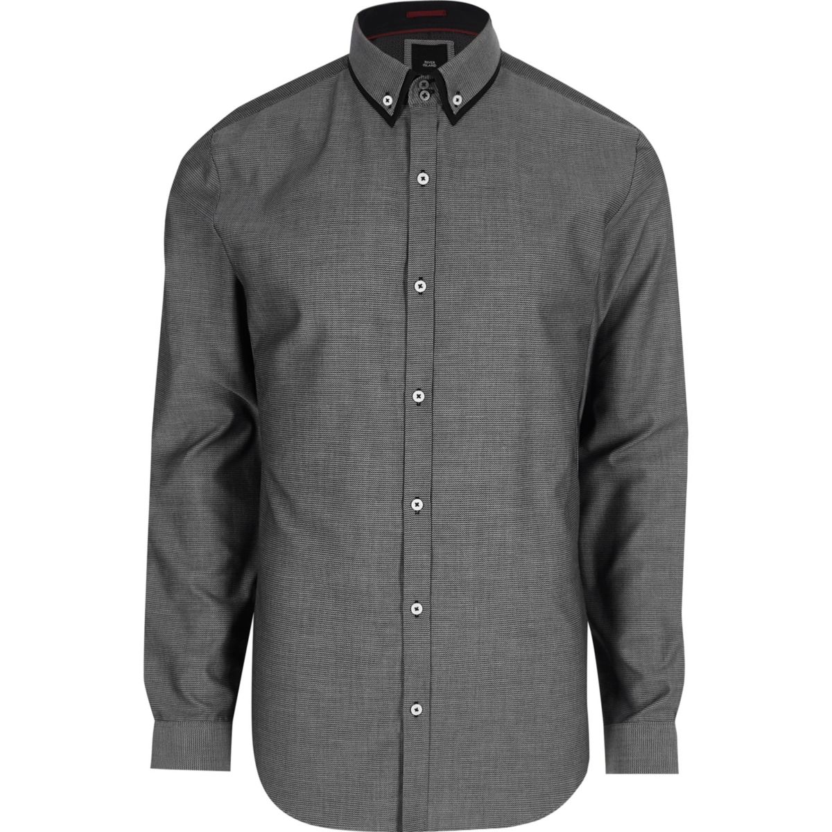 Grey double collar slim fit smart shirt