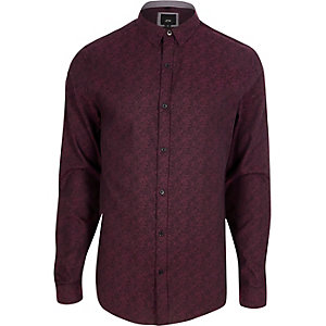 Purple jacquard slim fit shirt