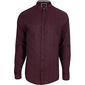 Paars jacquard slim-fit overhemd