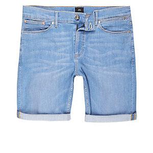 Short skinny en jean bleu clair