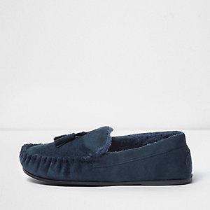 Navy borg lined tassel moccasin slippers