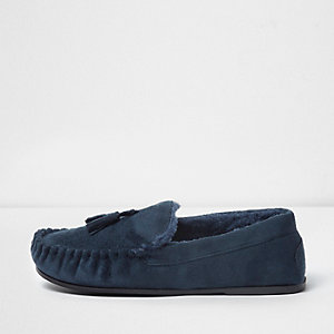 Navy fleece lined tassel moccasin slippers