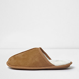 Tan fleece lined mule slippers