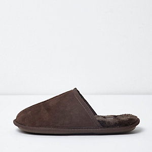 Brown fleece lined mule slippers