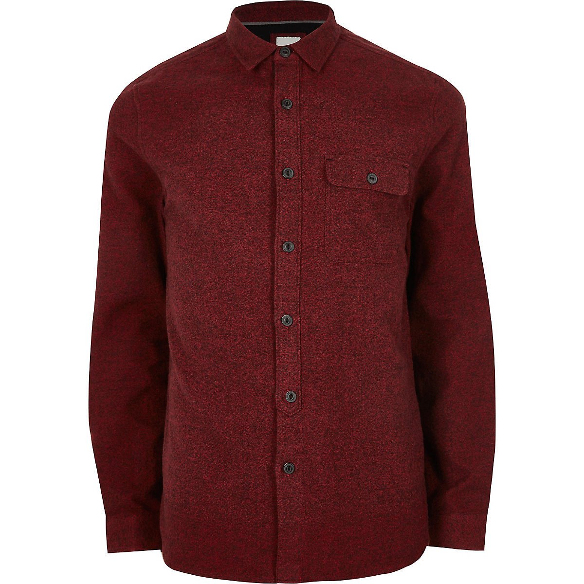 Dark red long sleeve chest pocket shirt - Long Sleeve Shirts - Shirts - men edabfba2879