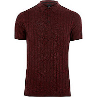 Red muscle fit ribbed knit polo shirt