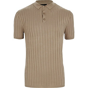 Light brown rib knit muscle fit polo shirt