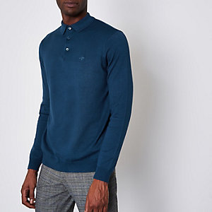 Blue slim fit long sleeve knitted polo shirt
