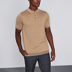 Tan slim fit short sleeve knitted polo shirt