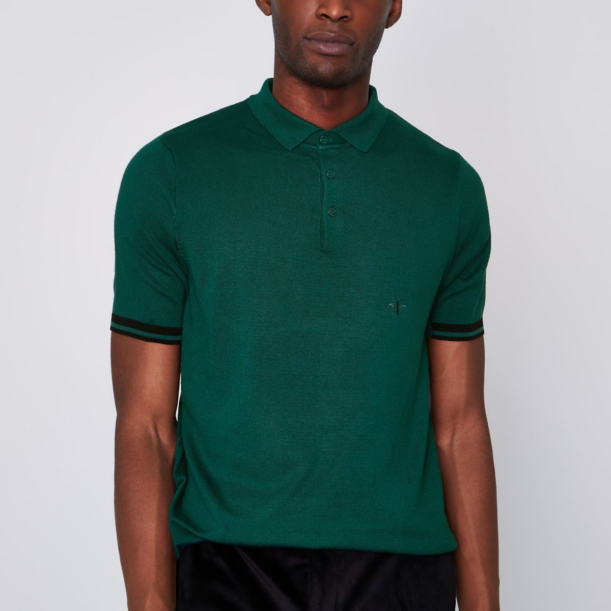 Green wasp embroidered slim fit polo shirt
