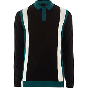 Blue colour block slim fit knitted polo shirt