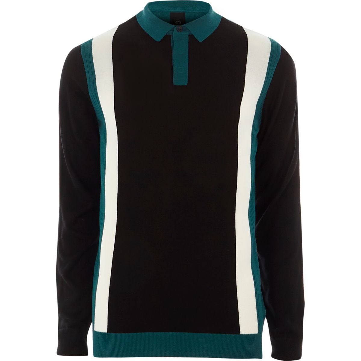 Blue color block slim fit knitted polo shirt