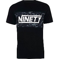 Black 'ninety' camo block slim fit T-shirt