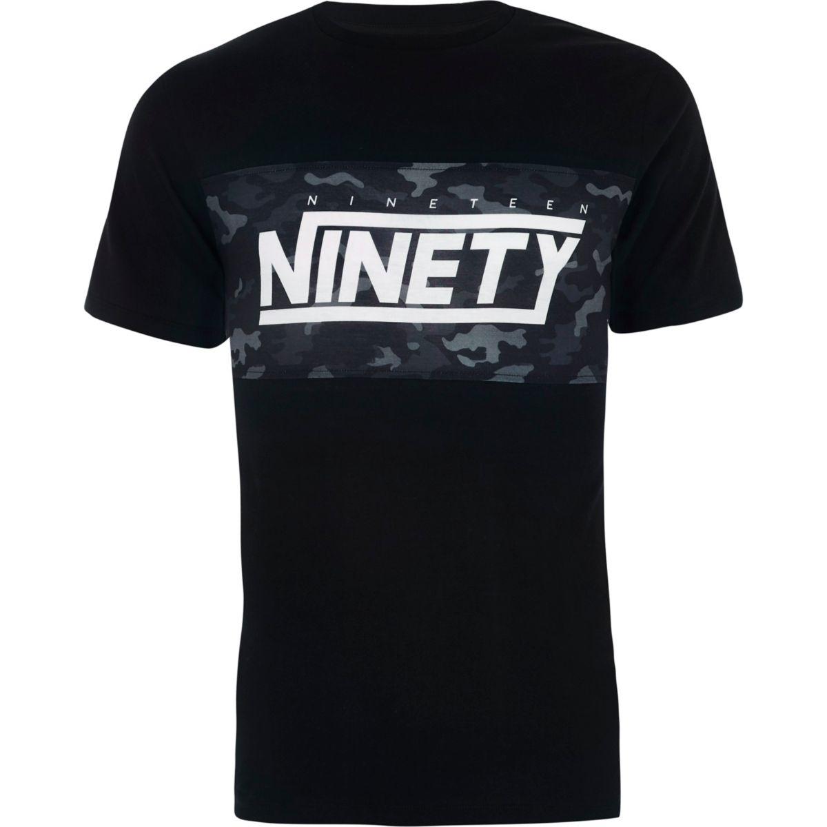 T-shirt slim «ninety» noir avec imprimé camouflage