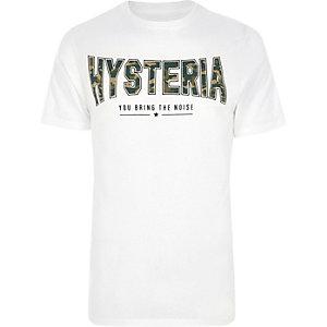 """Weißes, schmal geschnittenes T-Shirt mit """"Hysteria""""-Camouflage-Muster"""