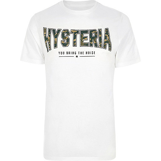 White 'hysteria' camo print slim fit T-shirt