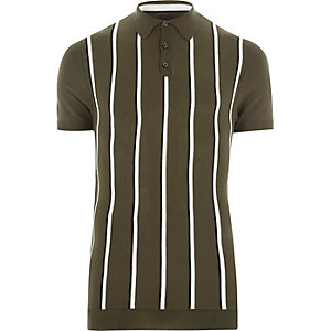 Khaki green stripe muscle fit polo shirt