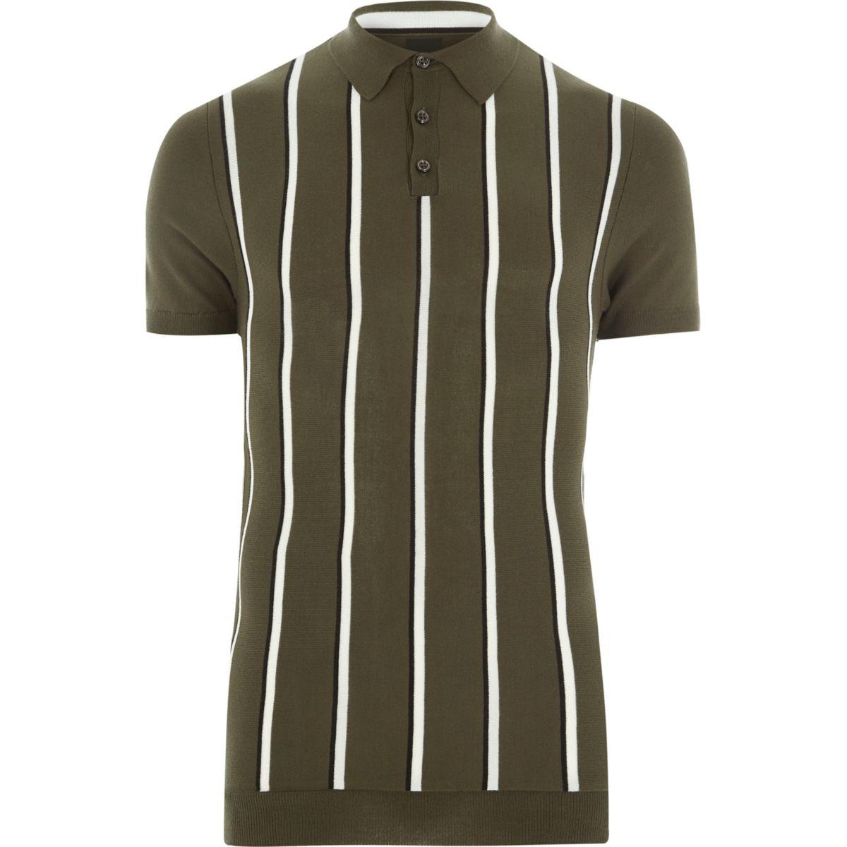 Khaki green stripe muscle fit polo shirt