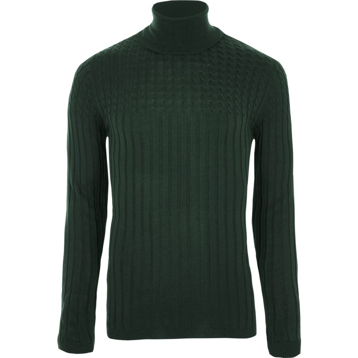 Dark green cable knit roll neck muscle jumper