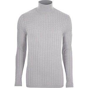 Grey roll neck cable knit muscle fit sweater