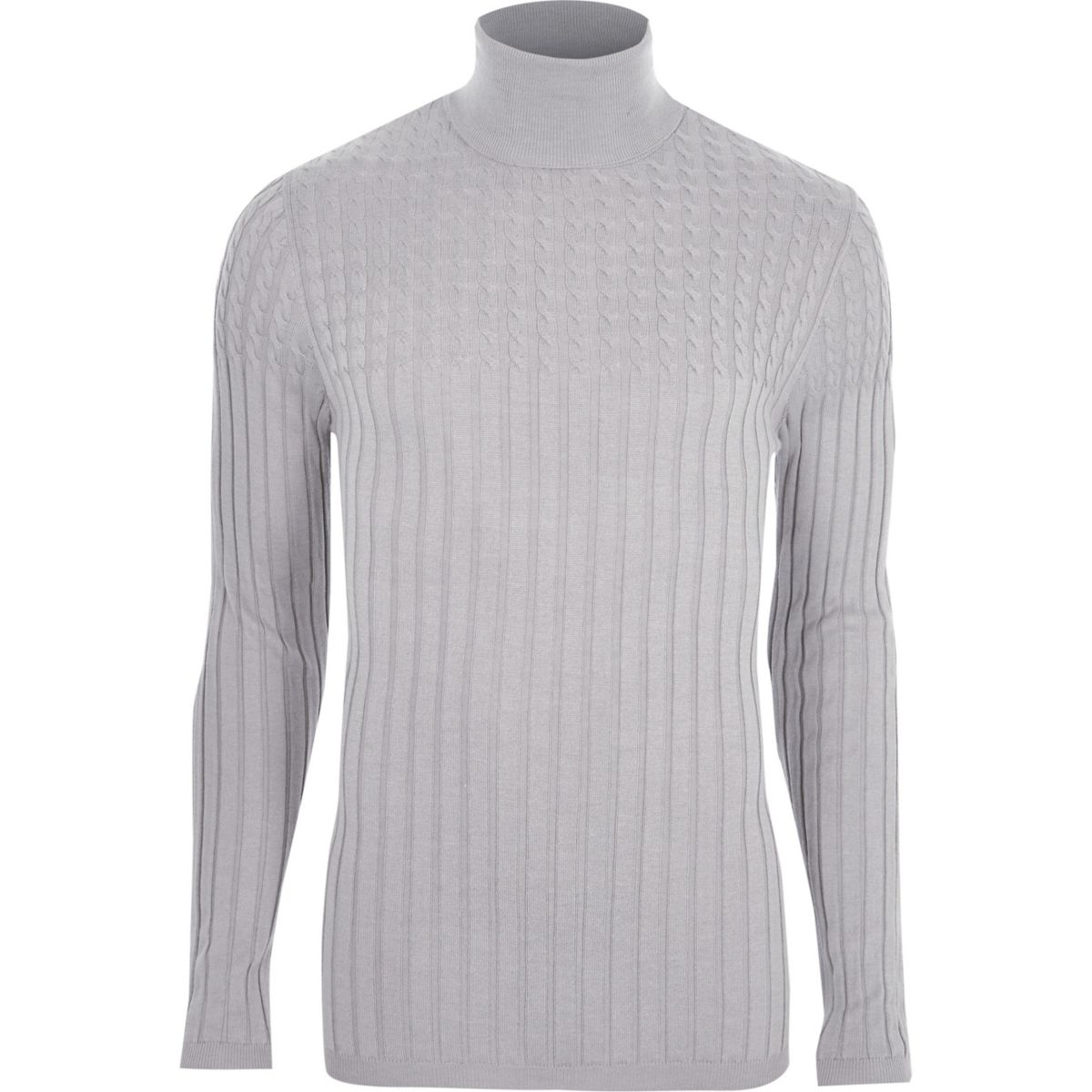 Grey roll neck cable knit muscle fit jumper