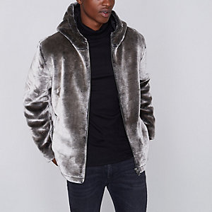 Grey faux fur zip-up hooded jacket