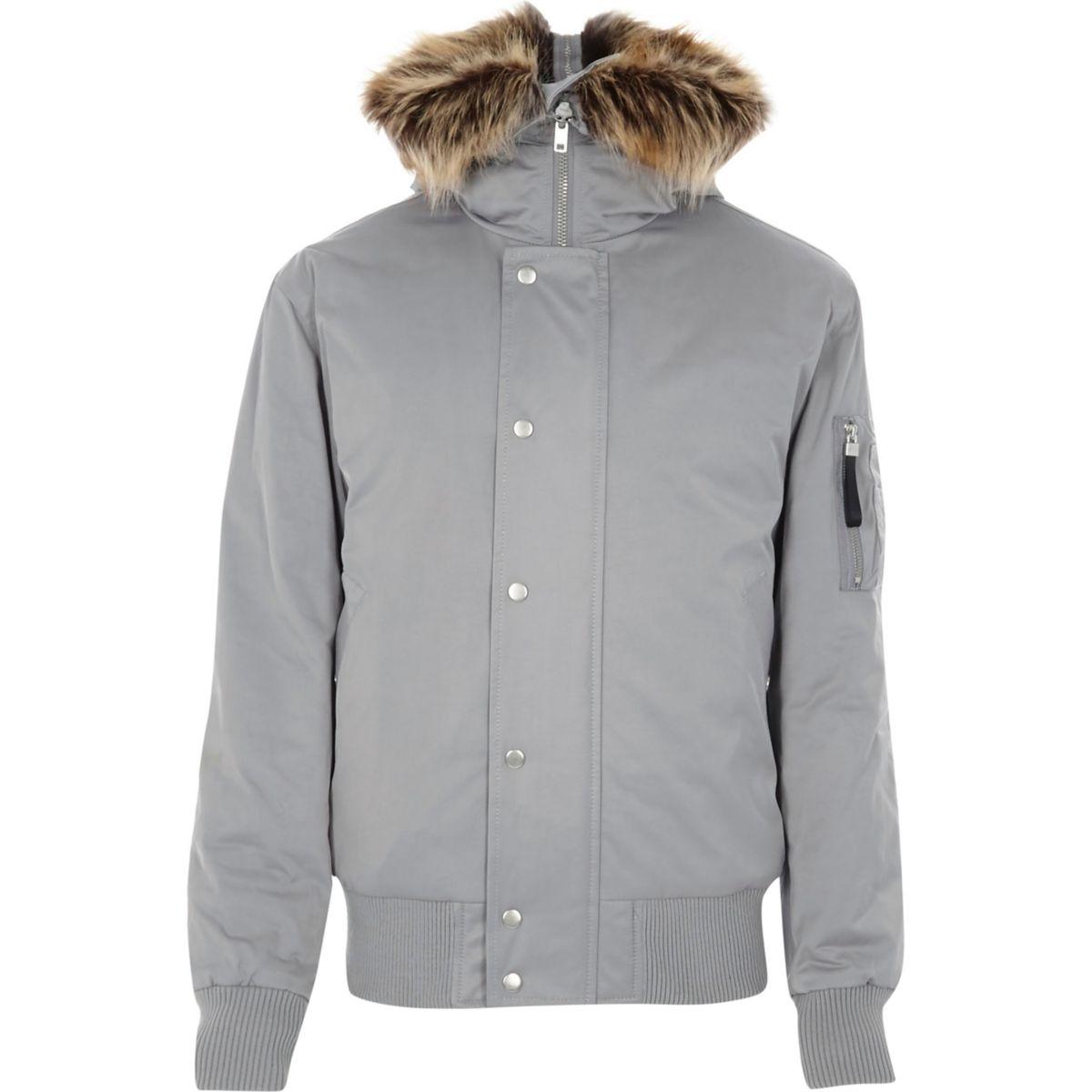 Light grey faux fur trim hooded jacket