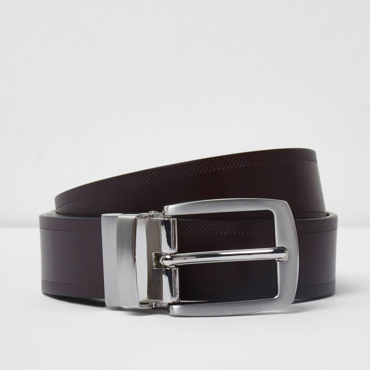 Dark brown reversible embossed buckle belt