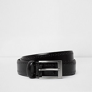 Black brogue detail smart belt