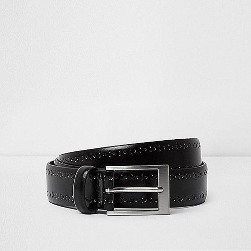 Black brogue detail smart belt