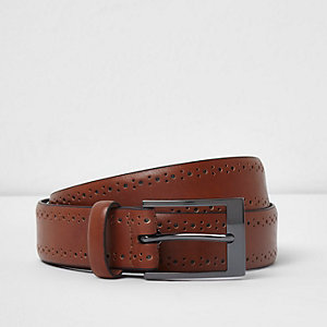 Tan brown brogue detail buckle belt