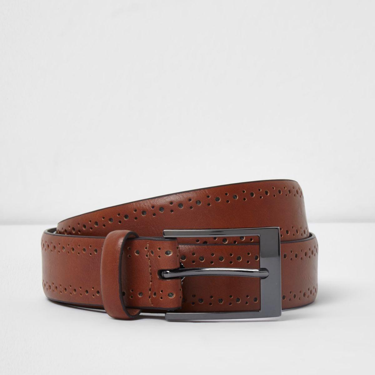 Tan brown brogue detail buckle belt