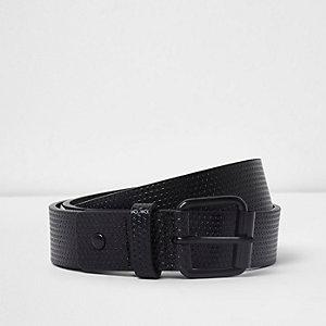 Zwarte smalle riem met gesp met textuur