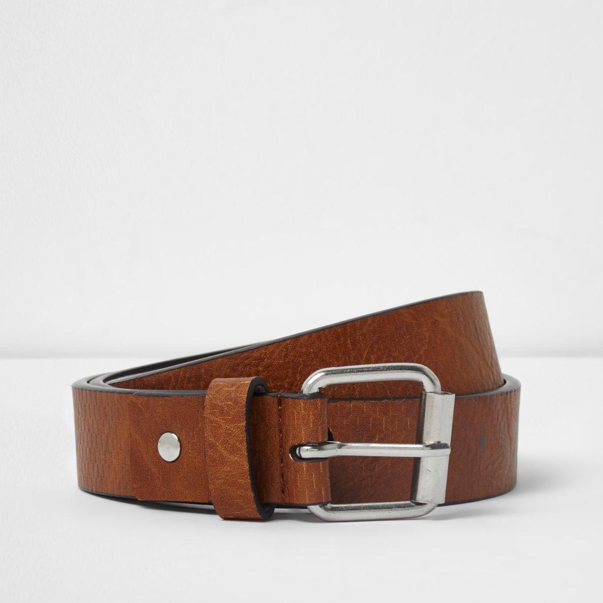 Tan brown textured skinny buckle belt