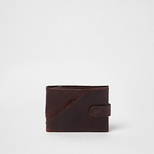 Dark brown popper button tab leather wallet